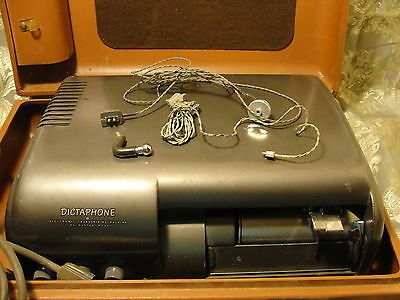 1950's era vintage Dictaphone in brown suitcase w attachments time-master model