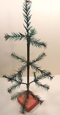 "19"" Tall Real Goose Feather Table Top Xmas Tree Wooden Base Country Old Fashion"