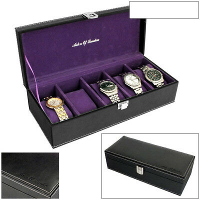 Aston Of London® Mens Black Pu Leather 5 Watch Storage Box With Purple Interior