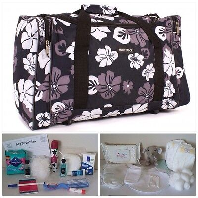 "BUDGET Pre-packed Black Floral 20"" Maternity Hospital Bag Mum & Baby (unisex)"