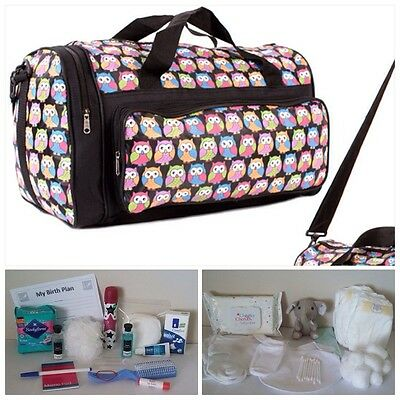 BUDGET Pre-packed Black OWL Maternity Hospital Labour Bag - Mum & Baby unisex