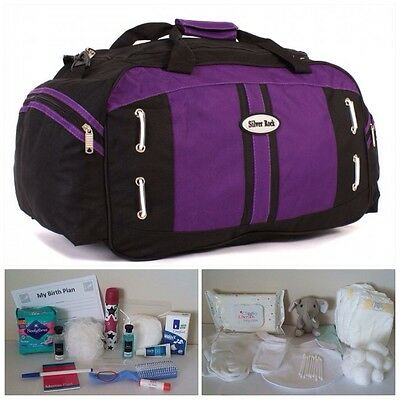 "BUDGET Prepacked Black/Purple Maternity 22"" Hospital Bag for Mum & Baby (unisex)"