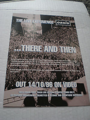 Oasis - The Live Experience Mail Card Advertising Video Released 14/10/96 Ex