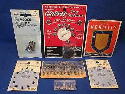 Snap Fasteners Hooks Eyes Vintage Old Display Cards Delong Prym's Scovill Sears