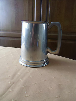 MANOR-English Pewter-Made In England-Glass Bottom Beer Stein.