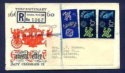 GB-1963 Registered Cover to Pt Colborne,ON from London UK-#383 & 2-#384 stamps