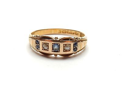 Sapphire and Pearl ring 15 carat gold antique Birmingham 1907