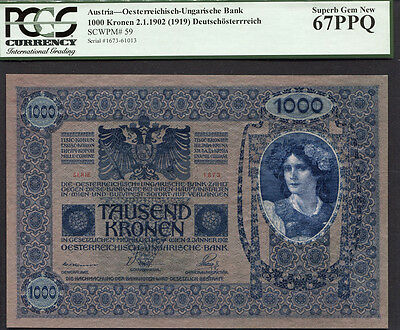 Tt Pk 59 1902 Austria 1000 Kronen Pcgs 67 Ppq Superb Gem New Finest Known