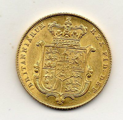1825 Gold Sovereign, George Iv Bare Head, High Grade