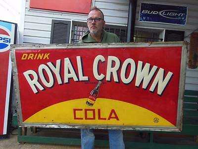 "EARLY 1939 ROYAL CROWN COLA SODA ADVERTISING SIGN METAL GENERAL STORE 71""x37"""