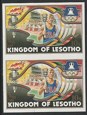 Lesotho (1274) - 1984 OLYMPICS TORCH BEARER IMPERF PAIR unmounted mint