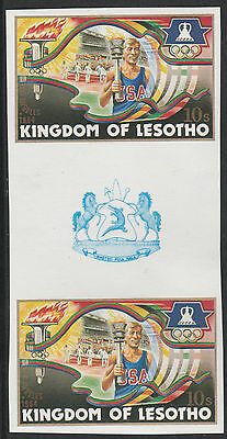 Lesotho (1279) - 1984 OLYMPICS TORCH BEARER IMPERF GUTTER PAIR unmounted mint