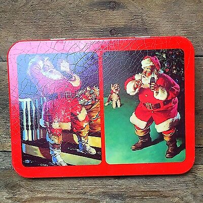 Vintage Coca Cola Santa Playing Cards Tin with one deck of cards