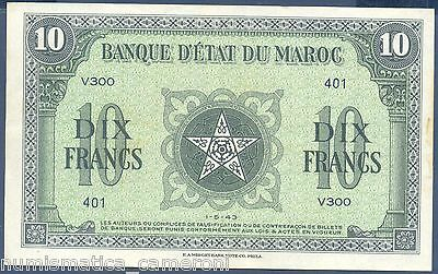 Morocco Note 10 Francs 1.5.1943 Wwii P 25 Xf