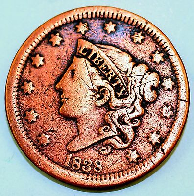 1838 Large Cent Coronet Head  U.s. Coin Very Nice Item 1914