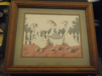 Vintage Home Interiors Lady Geese Out for a Stroll Framed Picture - 12 X 14
