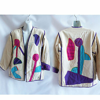 Vintage Mexican Kimono Jacket 70s Size L Canvas Purple cactus Hippie Boho