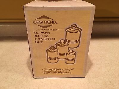 NEW UNOPENED Vintage West Bend 4 Canister Set Harvest Wheat w/ Brown Striping