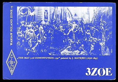 """QSL QSO RADIO CARD """"Painting of The May 3rd Constitution 1791"""", Poland (Q3052)"""