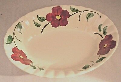 Blue Ridge Southern Pottery Red Hill Oval Vegetable Serving Bowl Red Floral