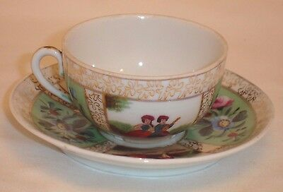 Antique Demitasse Cup and Saucer Floral Pattern French Couple Gold Gilt