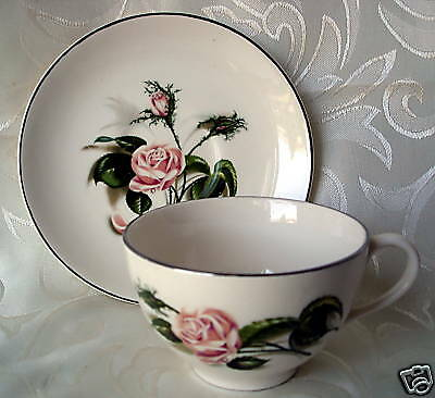 PINK ROSE by JOHNSON BROS., Ironstone Tea Cup & Saucer