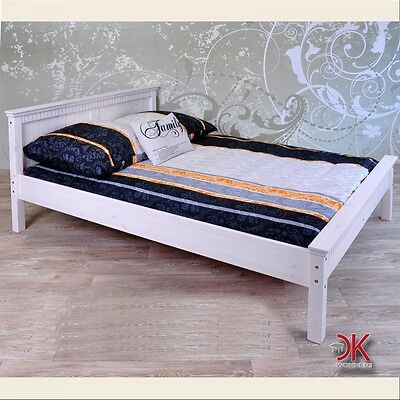 bett 140x200 doppeltbett sofabett gestell kiefer massivholz wei 8202416mz eur 159 00. Black Bedroom Furniture Sets. Home Design Ideas