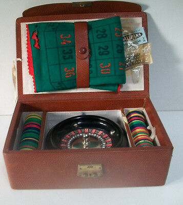 Home Casino Roulette Game Set In Leather Effect Case For Little Wheel Players