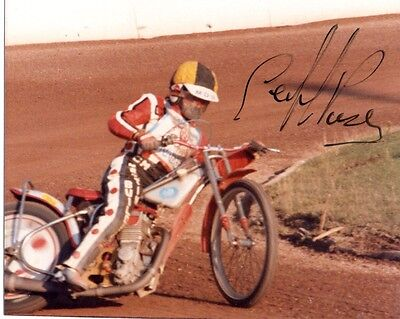 Signed Speedway Photo. Geoff Pusey (Long Eaton)
