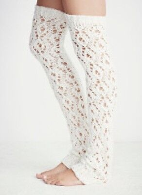 NWT Free People Sweater Web Open Stitch Over The Knee Leg Warmers Ivory