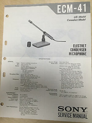 Sony Service Manual for the ECM-41 Microphone ~ Repair