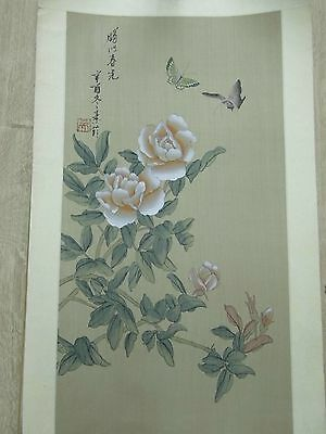 FINE SIGNED SEALED 19thC JAPANESE SCROLL SILK PAINTING BUTTERFLY ROSES 1850-1899