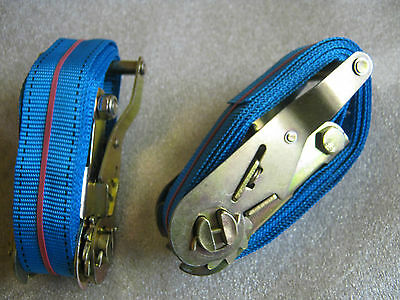 10 X Heavy Duty Ratchet Straps 2.5m long, 35mm wide. 400kg. Used once ##