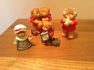 Lucy and Me Lucy Rigg Enesco 4 Christmas bear figuries 1980-1993