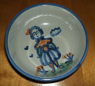 Ma Hadley Pottery Country Scene Blue Wife Cereal Bowl