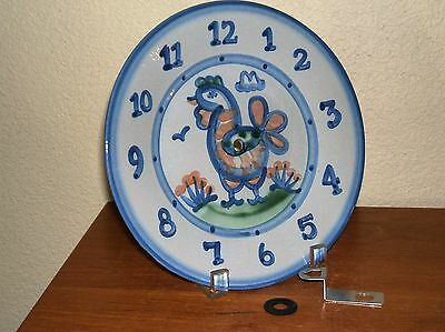 """Ma Hadley Pottery Country Scene Blue Chicken Clock Not Working   8 7/8"""""""