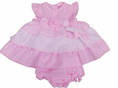 BNWT Baby girls summer pink & white frilly dress & hairband with rose 6 sizes