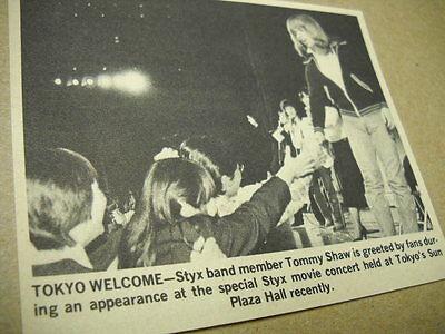 STYX Tommy Shaw greets fans in Tokyo original 1980 media only promo pic/text