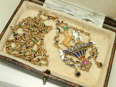 Renaissance Revival Gold and Enamel Pendant with  Emeralds & Diamonds with chain