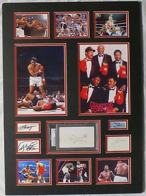 Champions Forever Signed Ali/Frazier +3 Matted Boxing Display PSA/DNA #AC06180