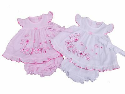 BNWT Baby girls pink or white butterfly embroidered summer dress knickers 3