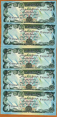LOT, Afghanistan, 5 x 50 Afghanis ND (1979-1991),  Pick 57, UNC