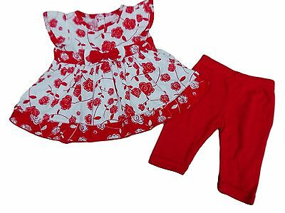 BNWT Baby girls summer red and white rose print top & leggings set 0-3 3-6 6-9 m