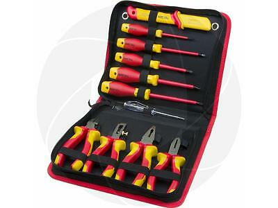 11pc VDE Insulated Hand Tools Pliers Cable Stripper Screwdrivers Cable Knife Set
