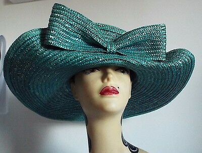 VINTAGE HAT 1950's TEAL UPTURNED FRONT WIDE BRIM STRAW with BOW FROM SIGGI ITALY