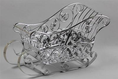 Silver Metal Rhinestones Christmas Sleigh Candy Cards Holder