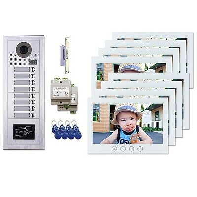 "Video Intercom System - Keyless Door Entry System Kit w/Eight White 7"" Monitors"