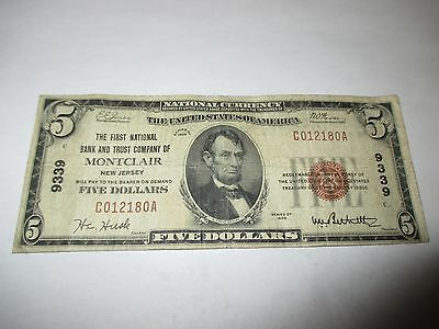 $5 1929 Montclair New Jersey NJ National Currency Bank Note Bill Ch. #9339 RARE