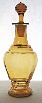 Vintage Amber Glass Perfume Cologne Scent Bottle with Stopper
