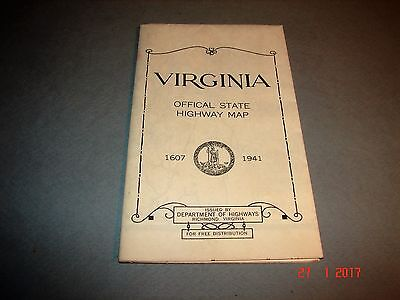 1941 VIRGINIA Offical State Highway Map